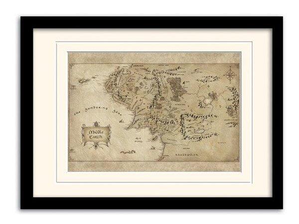 Hobbit  - Mapa Śródziemia w ramce