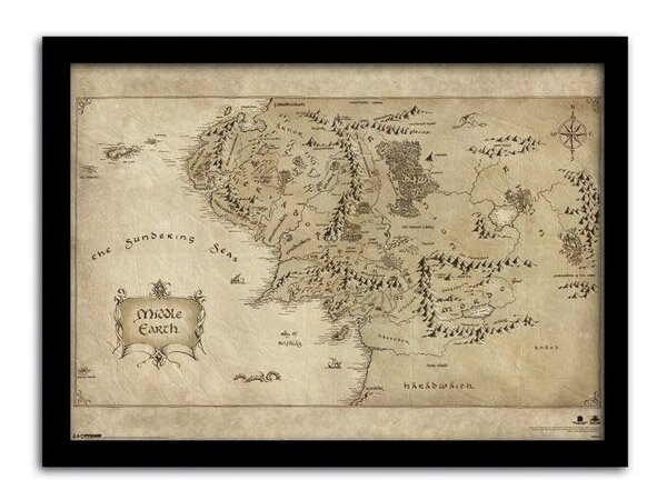 Mapa Śródziemia w ramce z filmu Hobbit